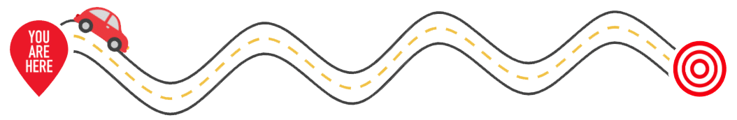 Car traveling along road (simple graphic)